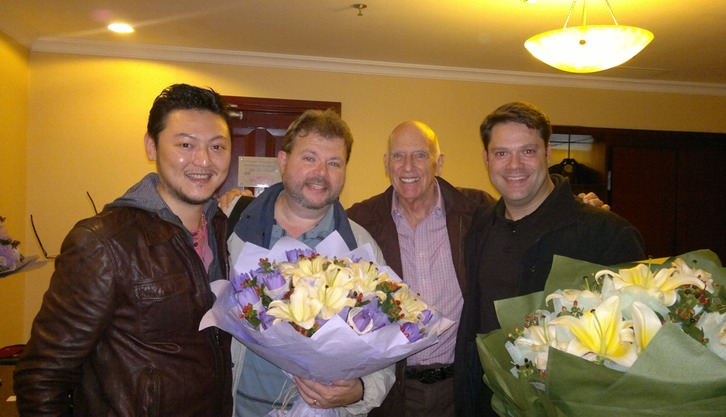 ARRIVAL! (Zhang, Xiaolu-Professor of Saxophone and Jazz at the Shanghai Conservatory, Eric, Gene Aitken, and Paul)